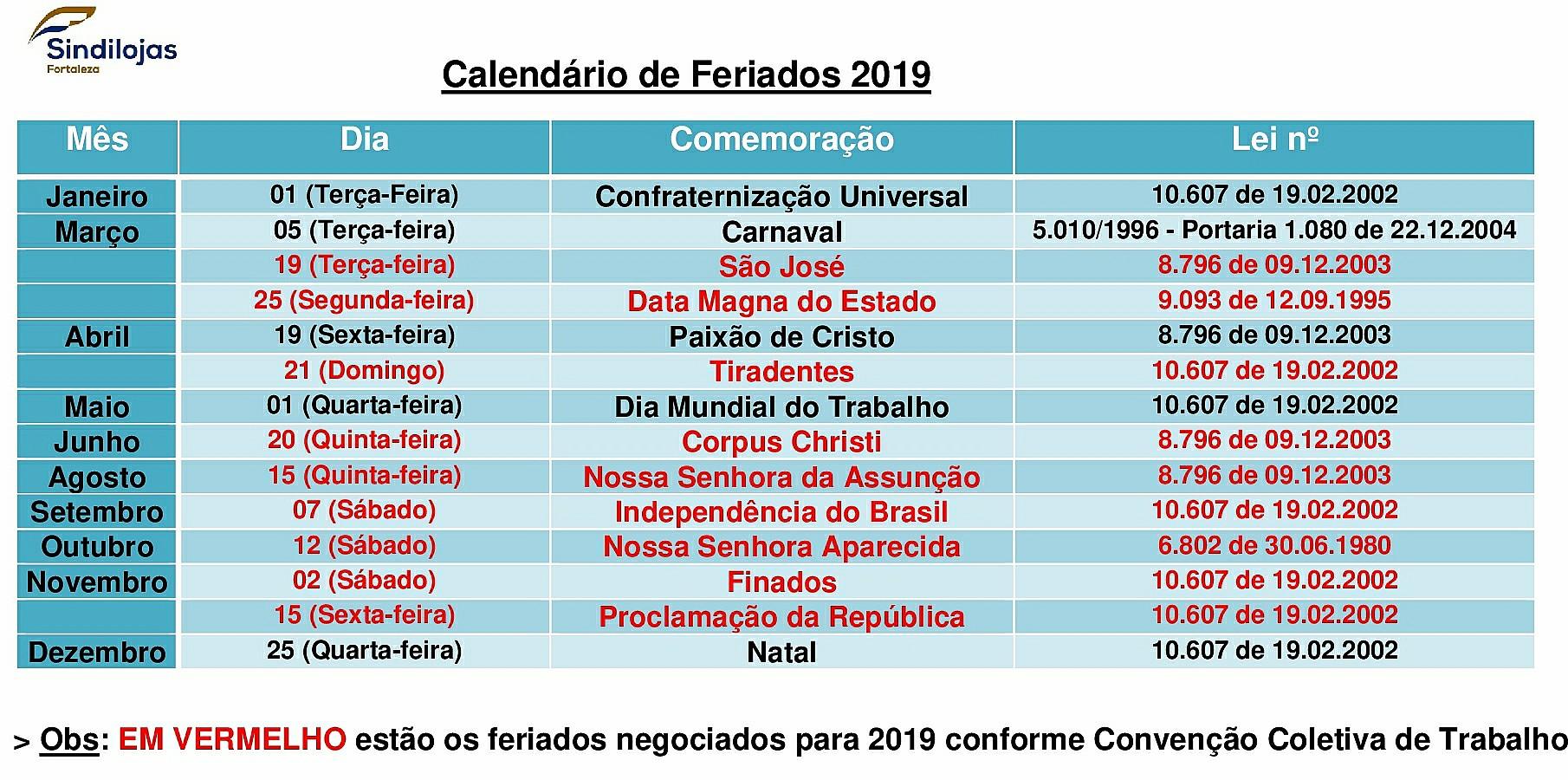 Calendario 2020 Brasil Com Feriados.Feriados Sindilojas Fortaleza
